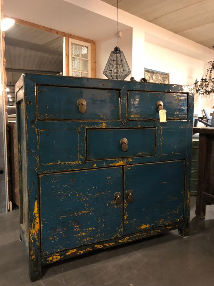 Ongebruikt Chinees kastje 2 deur 3 la hoogglans blauw - Unieke meubelen by De DN-27